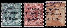 1906-18 AUSTRIA #N61-63 ITALIAN OCCUPATION - USED - F/VF - CV$12.00 (E#9985)