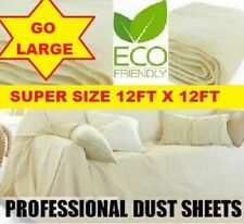 EXTRA HEAVY LARGE DURABLE 12' x 12' COTTON TWILL DUST SHEET PROFESSIONAL QUALITY