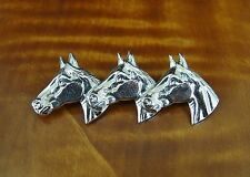 Three Horse Heads with Detail Sterling Silver 925 BROOCH Pin