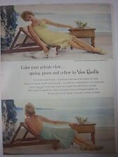 1959 Vintage Van Raalte Spring Green and Yellow Womens Half Full Slip Color Ad