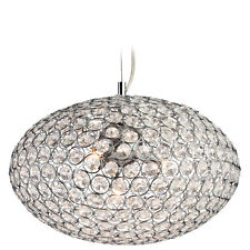 Firstlight Oval Pendant in Chrome with Crystal  - Ceiling Light