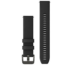 Garmin Quick Release Watch Bands 20 mm Black Silicone with Gunmetal Hardware