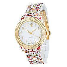 NEW Kathy Davis Scatter Joy KDW001G-M3 Womens Gold Bezel Red Flower Floral Watch
