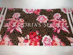 Victoria Secret Beach Pool Towel Animal Print Floral Cheetah Peony Logo VS