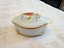 Vintage German Prozellanwerk Martinroda Footed Trinket Box Crown PM Stamp Exc