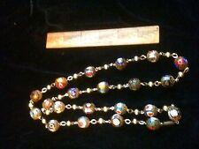 Vintage Millefiori Necklace with Gold Tone Filligree Moretti Murano Style Veneti