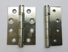 "4"" Ball Bearing Door Hinges Satin Stainless Steel 100mm Pair Fire Grade 13 14854"