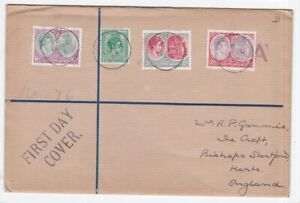 St Kitts & Nevis 1938 GVI registered first day cover FDC to UK