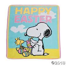 Large Peanuts Snoopy & Woodstock Easter Fleece Throw Blanket 50 x 60 Brand New
