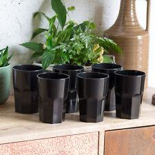 Set of 8 350ml Black Reusable Plastic Drinking Glasses Hi-ball Tumblers Bar Cup