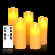5 Set Luminara Flickering Moving Wick Flameless Pillar Candle LED Candles Remote