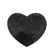 Bügel-Pailletten-Applikation Herz schwarz ca. 6x5,5cm