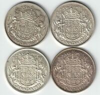4 X CANADA 50 CENTS KING GEORGE VI CANADIAN .800 SILVER COINS 1949 - 1952