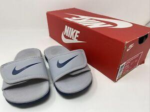 New Nike Kawa Adjust GS/PS Slide Sandals Kids 11c Wolf Grey/Obsidian 819344 002
