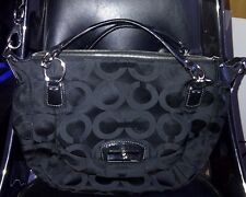 AUTH COACH KRISTIN ROUND OP ART SATCHEL CROSSBODY BAG PURSE 19328 BLACK $298
