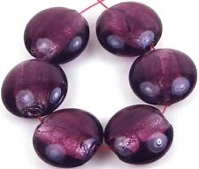 20mm Lampwork Handmade Glass Silver Foil Purple Amethyst Lentil Beads (6)