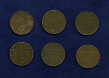 """SWEDEN  1 """"ORE"""" COINS: 1879, 1884, 1903, 1910, & 1911, LOT OF (6), MOSTLY XF"""
