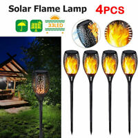 33LED Light Control Solar Flame Light Outdoor Waterproof Garden Torch Lamp NIGH