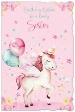 "Sister Birthday Card - Pink Unicorn, Roses, Big Balloons & Little Stars 9"" x 6"""