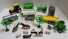 Plastic Farm Playset with Tractor, Farm implements, People and Animals