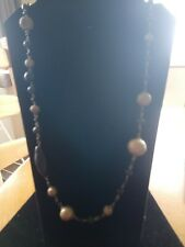 Long Gold Tone And Black Bead Necklace