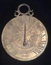 Antique Brass Bronze Roman Numerals Sun Clock Sundial Tabletop Office Desk
