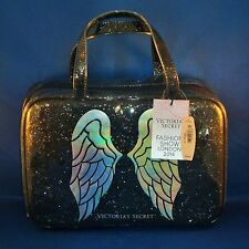 Victoria's Secret - Angel Wings - Black Glitter Large Handled Cosmetic Bag - NEW