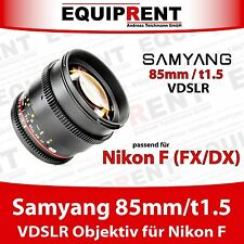 Samyang 85mm/t1.5 vdslr Portrait lente para Nikon F FX/DX (eqs52)