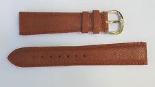 BRACELET MONTRE CUIR VÉRITABLE rembordé BOUCLE ARGENTE /*marron/* 19 mm REF.DK30