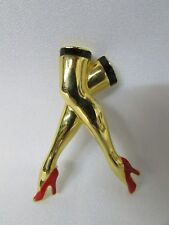 Pin Gold Sexy Legs High Heels Pinup Red Pumps Jewelry Risque Crossed VTG Rare