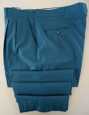 Thomson Pantalones Hombre Azul 41 27 Plisado sin Manguito Talla Vintage USA Made