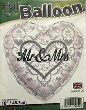 """18"""" Quality Mr & Mrs Foil Heart Balloon Wedding Anniversary Celebrations Party"""