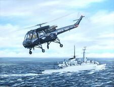 "Westland Wasp Helicopter Painting Art Print - HMS Antelope - 14"" Print"