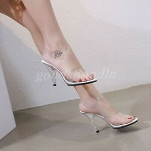 Womens Clear Open Toe Sandals High Heel Transparent Slingbacks Ankle Strap Shoes