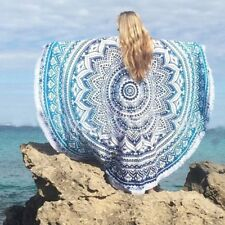Indian Blue Ombre Mandala Wall Hanging Beach Throw Yoga Mat Table Cloths Round