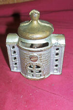 Old Cast Iron Bank Fort Prison Tower Small Little Vintage Antique Piggybank Coin