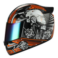 1STORM DOT MOTORCYCLE STREET BIKE FULL FACE HELMET MECHANIC WHITE SKULL ORANGE