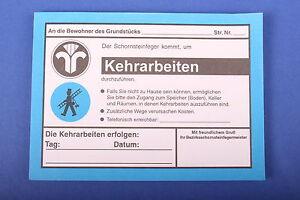 Anmeldezettel Kehrarbeiten Kaminkehrer Schornsteinfeger Kaminfeger