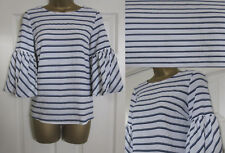 NEW EX Principles Ladies Fluted Sleeve Blouse Top Striped Smart Ivory Sz 8-20