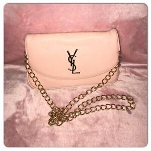 Vintage YVES SAINT LAURENT Parfum Gold Logo Pink Clutch Chin Strap