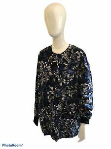 Landau One Size Fits Most SML Scrubs Jacket Snap Knit Sleeves