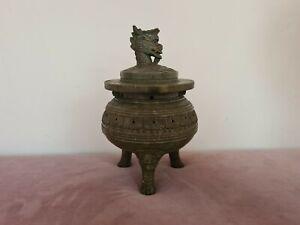 Large antique Chinese Qing period soapstone tripod censer - Rare Incense Burner