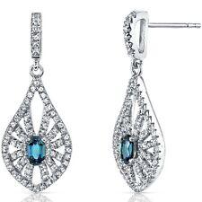 14K White Gold Created Alexandrite Chandelier Earrings 0.50 ct