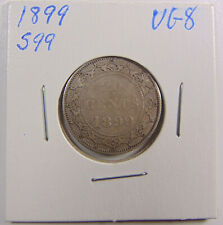 1899 Newfoundland SMALL 99 - 20 Cents Silver Coin -  - Graded VG8