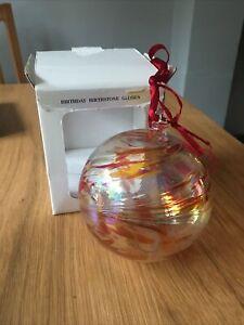 "July Birthstone Ball 10cm 4"" Handblown Glass Friendship Ball ""Ruby"""