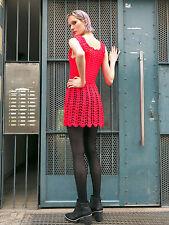 Minikleid Strickkleid Kleid neon pink True VINTAGE 70er knitted dress handmade