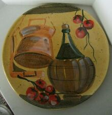 Vintage Marco e Cristina Large Hand Painted Plater Made in Italy Wine Bottle