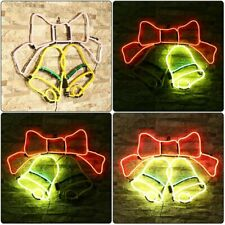 "24""x17"" Two Xmas Bells Neon Sign Light Bar Glass Wall Display Gift Pub Us Plug"
