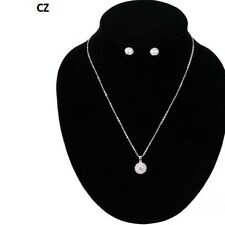 "Cubic Zirconia Round Charm & Earrings 16"" Silver Tone Necklace W Cz"