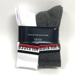 6 Pairs of Tommy Hilfiger WHITE/ GREY Cotton Cushion Crew Socks New Men's 10-13